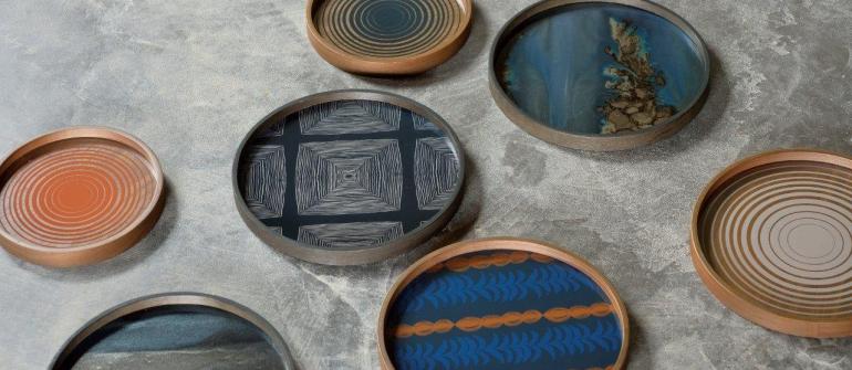 Ethnicraft slate organic glazen dienblad